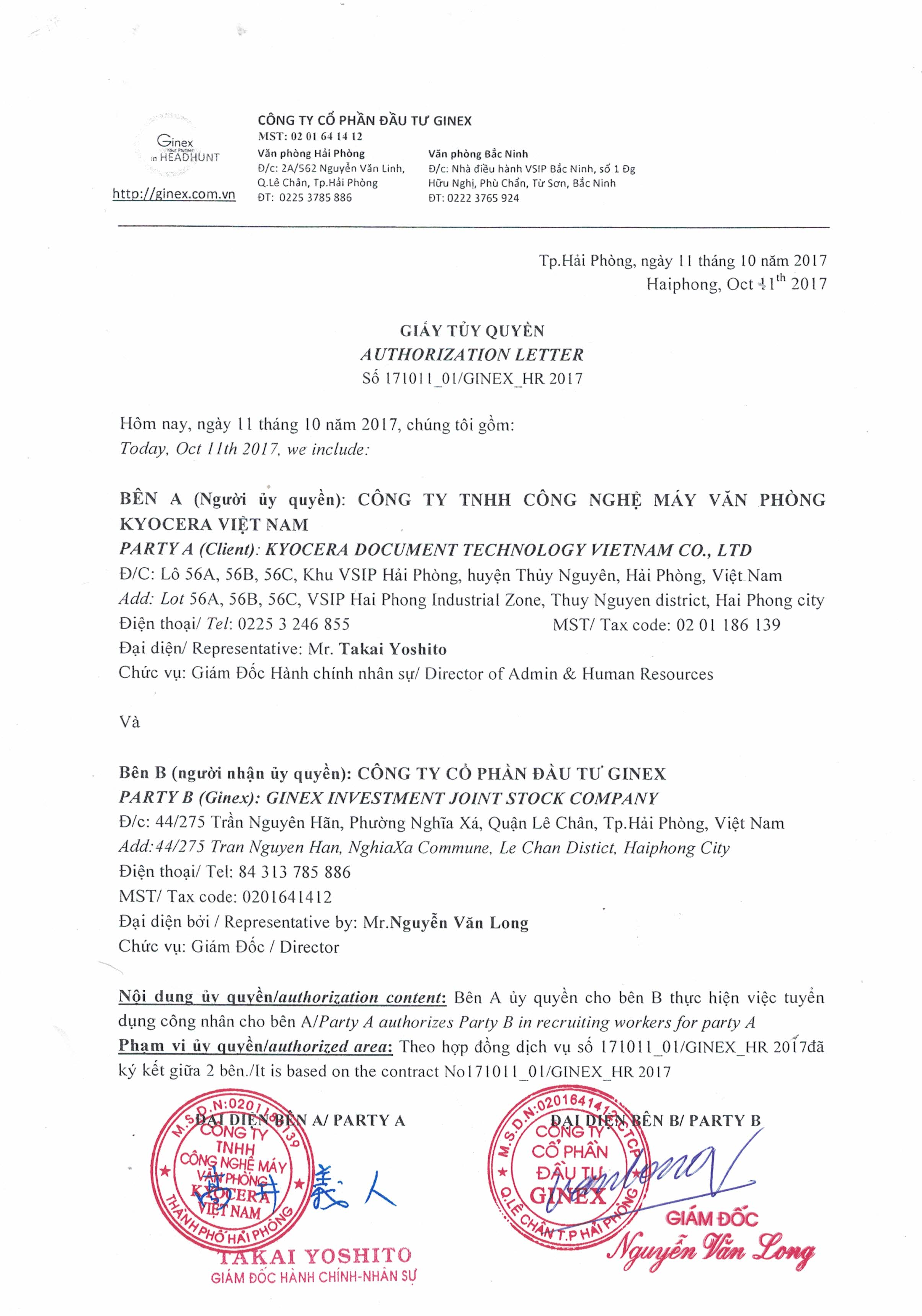 Ủy quyền tuyển dụng của công ty TNHH Công Nghệ Máy Văn Phòng Kyocera Việt Nam cho Gjobs Talent Search
